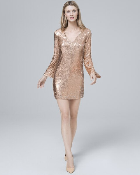 e1544d020c49 Return to thumbnail image selection Deep-V Sequin Shift Dress video preview  image