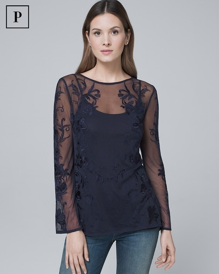 Petite Floral-Embroidered Mesh Tunic