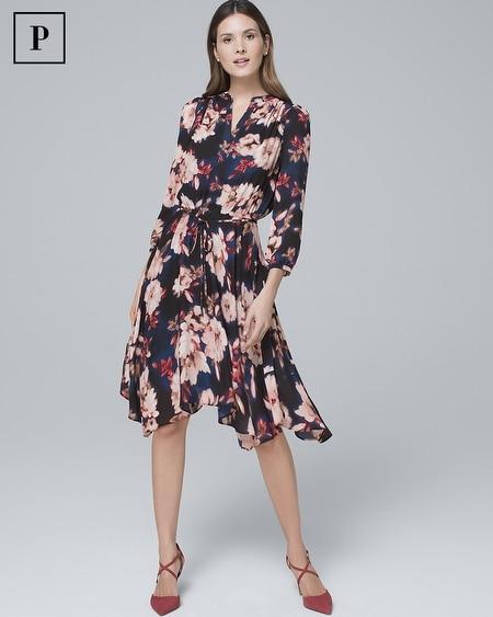 Petite Floral-Print Soft Blouson Dress