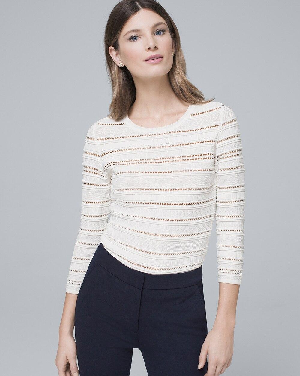 b87f2557726 Open-Stitch Sweater - White House Black Market