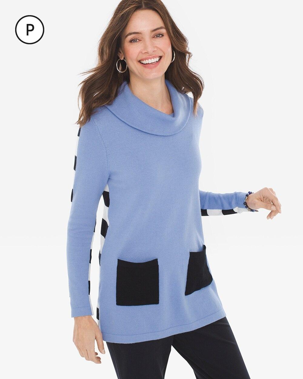 Zenergy Petite Cotton-Cashmere Stripe-Back Sweater