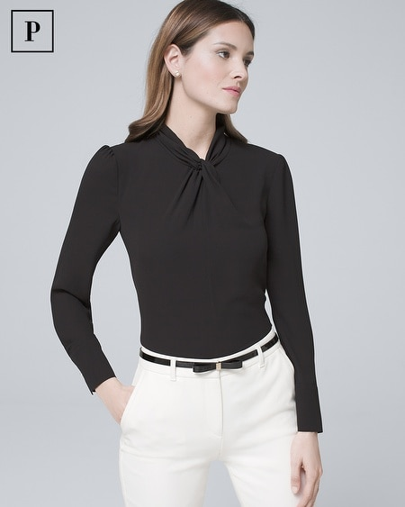Petite Knotted-Neck Blouse
