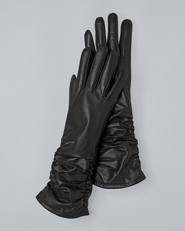 Black Leather Ruched Detail Tech Gloves by Whbm