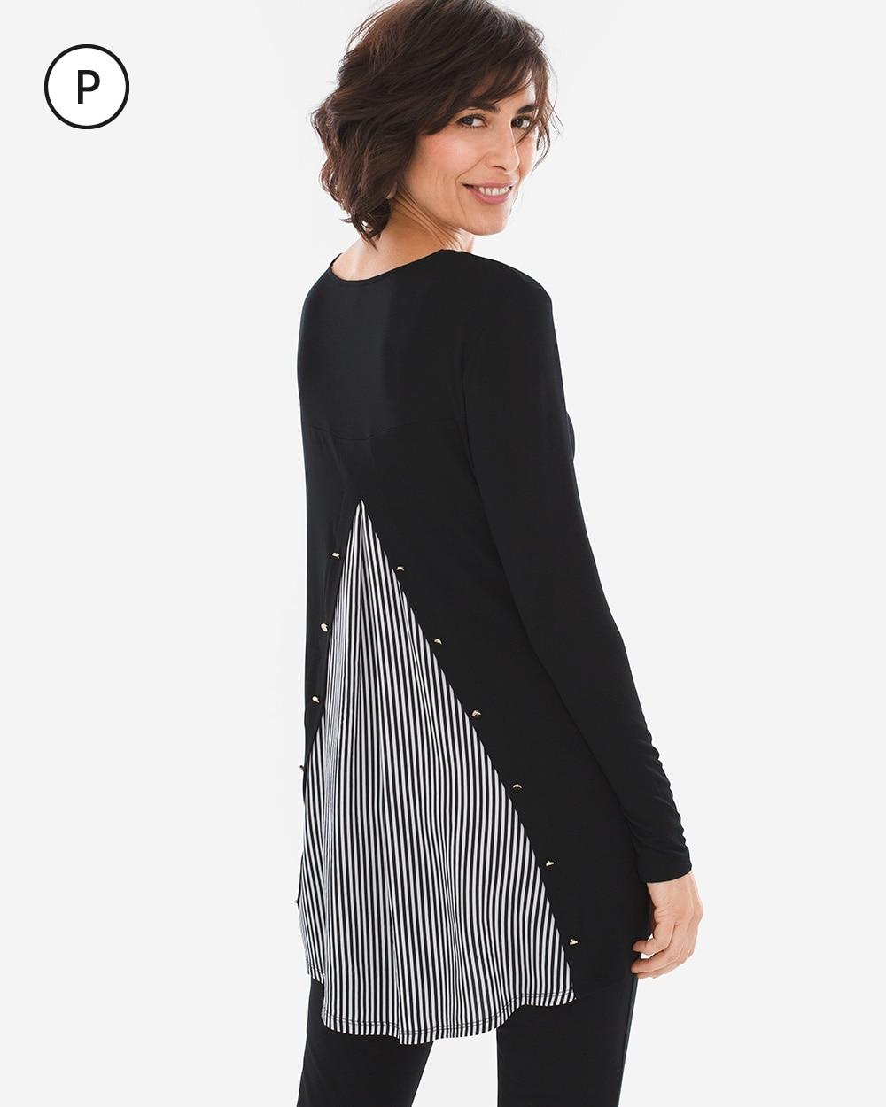 Petite Striped-Back Button Tunic