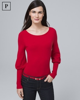 Petite Bishop Sleeve Tie Back Sweater by Whbm