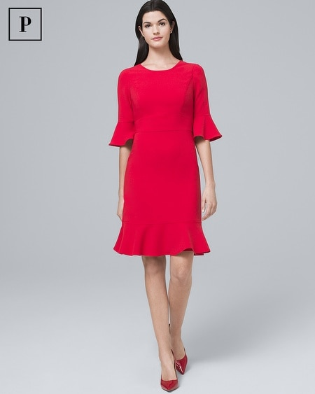 Petite Flare-Sleeve Fluted-Hem Sheath Dress