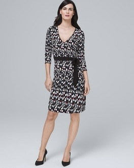 Reversible Dot Print/Solid Black Faux Wrap Dress by Whbm