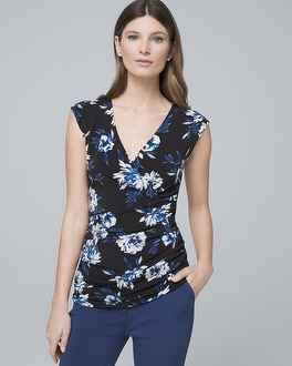 Floral Print Shirred Bodice Tank by Whbm