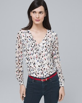 Ruffle Detail Blouse by Whbm