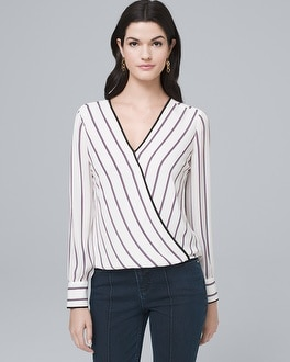 Stripe Surplice Blouse by Whbm