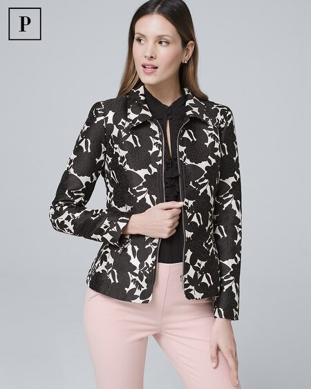 Petite Floral-Jacquard Jacket