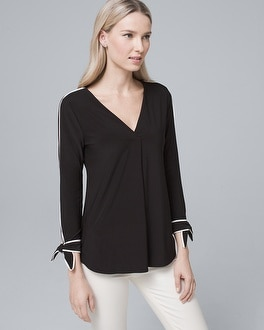 Bow Cuff Contrast Blouse by Whbm
