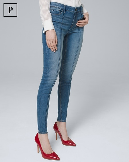 Petite Mid-Rise Pintucked Skinny Ankle Jeans