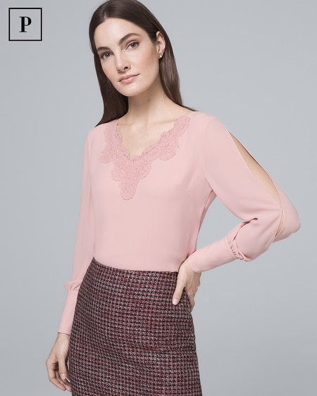 Petite Lace-Trim Split-Sleeve Blouse