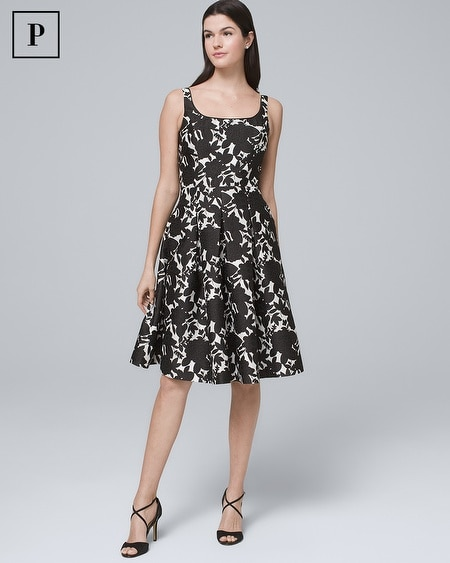 Petite Jacquard Fit-and-Flare Dress