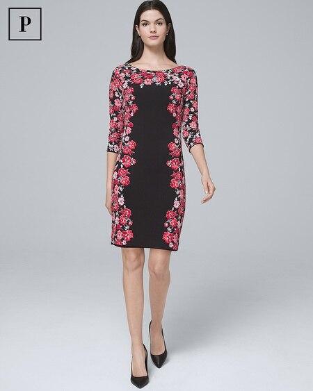Petite Reversible Floral Border/Solid Knit Sheath Dress