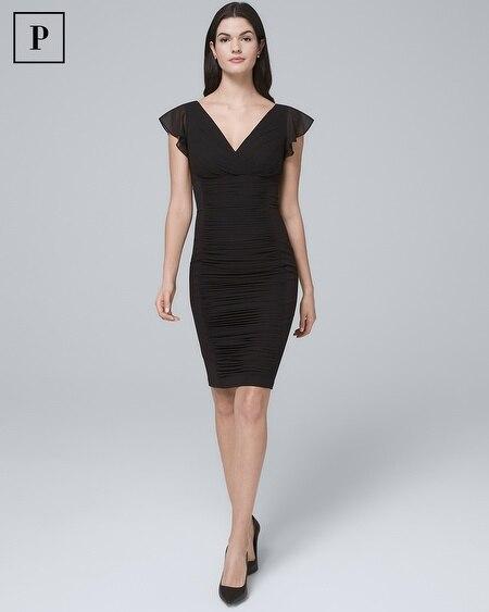 Petite Instantly Slimming Flutter-Sleeve Black Sheath Dress