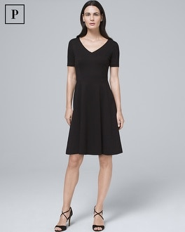 Petite Black Polished Knit Fit And Flare Dress by Whbm
