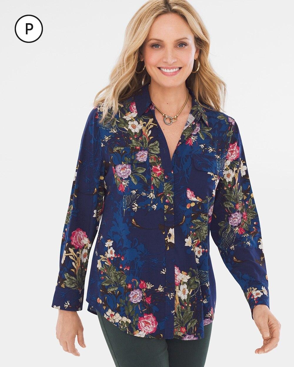 Petite Silky Soft Floral Terrace Shirt