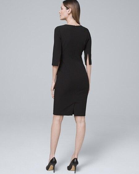 82b2f05c010 Body Perfecting Split-Sleeve Black Sheath Dress