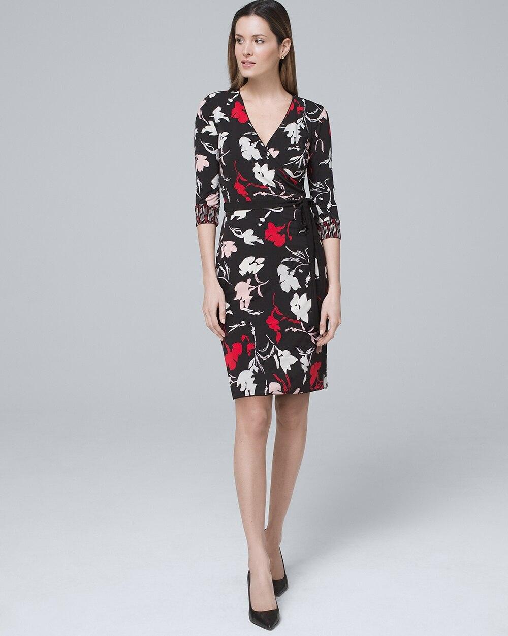 bf7992627f5f Reversible Floral/Geo-Print Faux-Wrap Dress - White House Black Market