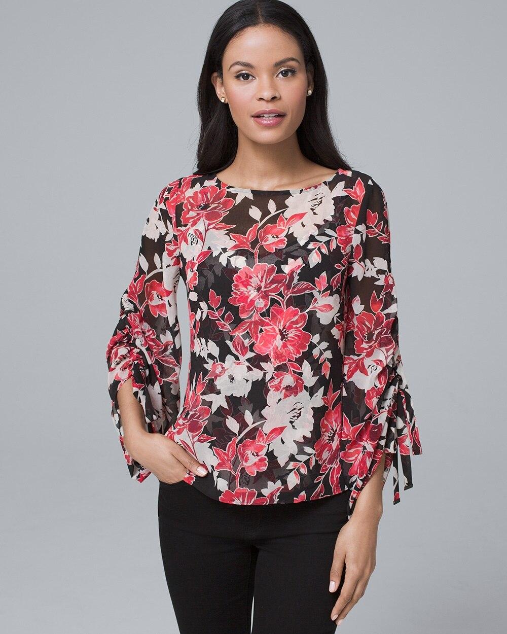 9da4140a00dac Tie-Sleeve Floral Blouse - White House Black Market