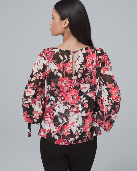 cd4b03782dc7c Return to thumbnail image selection Tie-Sleeve Floral Blouse