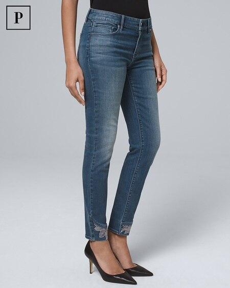 Petite Mid-Rise Lace-Hem Skinny Crop Jeans