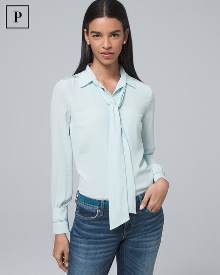 Petite Button-Down Shirt with Removable Neck Tie