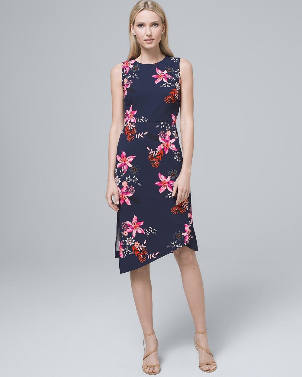 e110669a8d6 Return to thumbnail image selection Asymmetric-Hem Floral Sheath Dress  video preview image