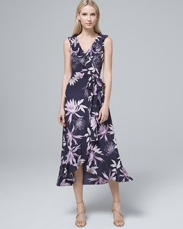 Ruffle Neck Faux Wrap Dress by Whbm