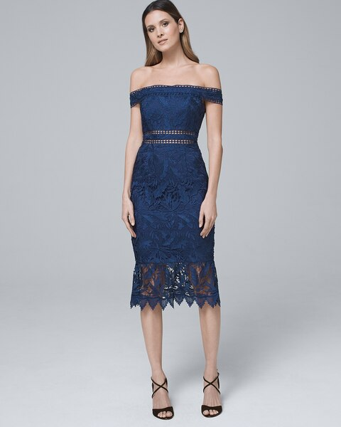 Shoptagr Off The Shoulder Lace Sheath Dress By Whbm