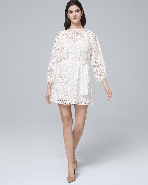554439d830b4 Return to thumbnail image selection White Lace Blouson Dress video preview  image, click to start video