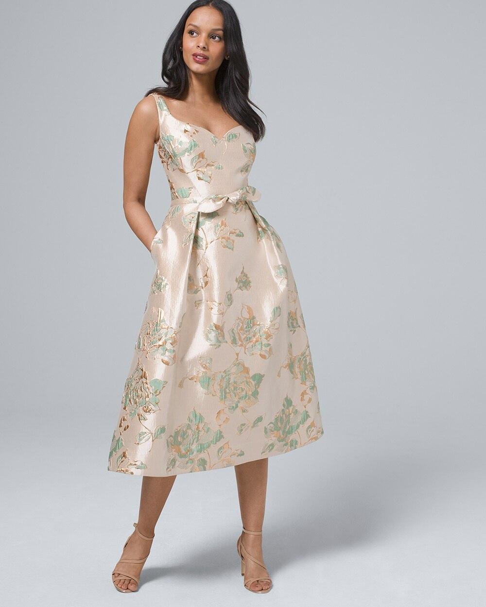 bc099c67a Floral Jacquard Fit-and-Flare Midi Dress - White House Black Market