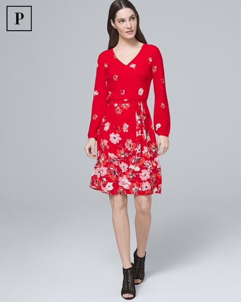 466429d556 Return to thumbnail image selection Petite Floral-Print A-Line Dress video  preview image