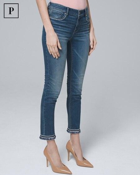 Petite Mid-Rise Fringe-Hem Slim Crop Jeans