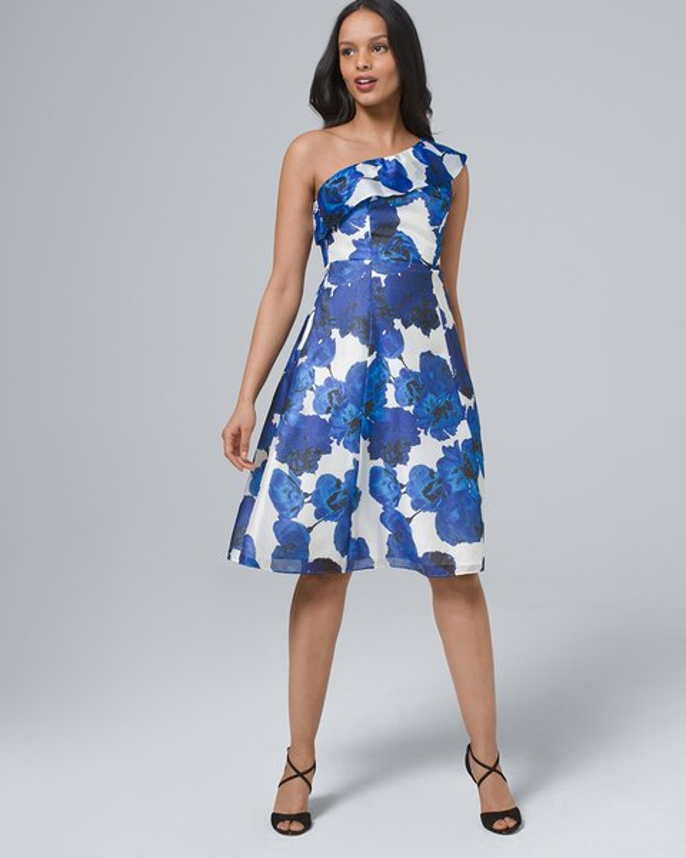 dc360857836 One-Shoulder Floral Fit-and-Flare Dress - White House Black Market