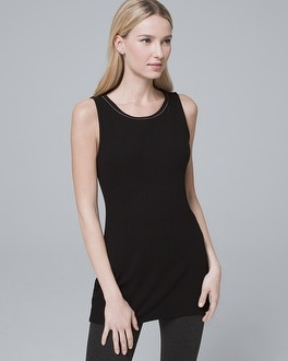 Ball Chain Trim Sleeveless Knit Tunic by Whbm