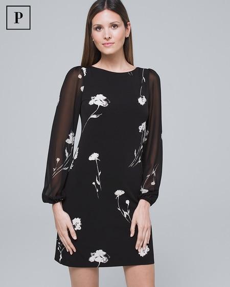 Petite Chiffon-Sleeve Floral Polished Knit Shift Dress