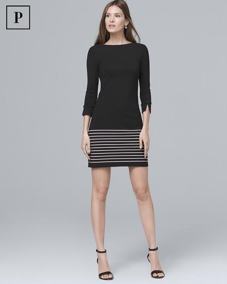Petite Stripe-Hem Knit Shift Dress