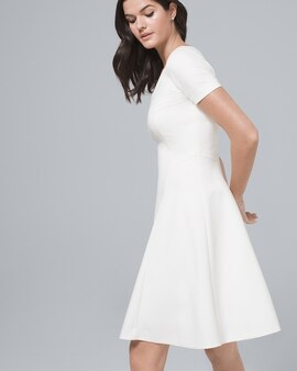 9489e64a9898 Polished Knit White Fit-and-Flare Dress