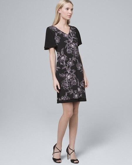 Ultimate Reversible Chiffon-Sleeve Knit Shift Dress 491f5763e