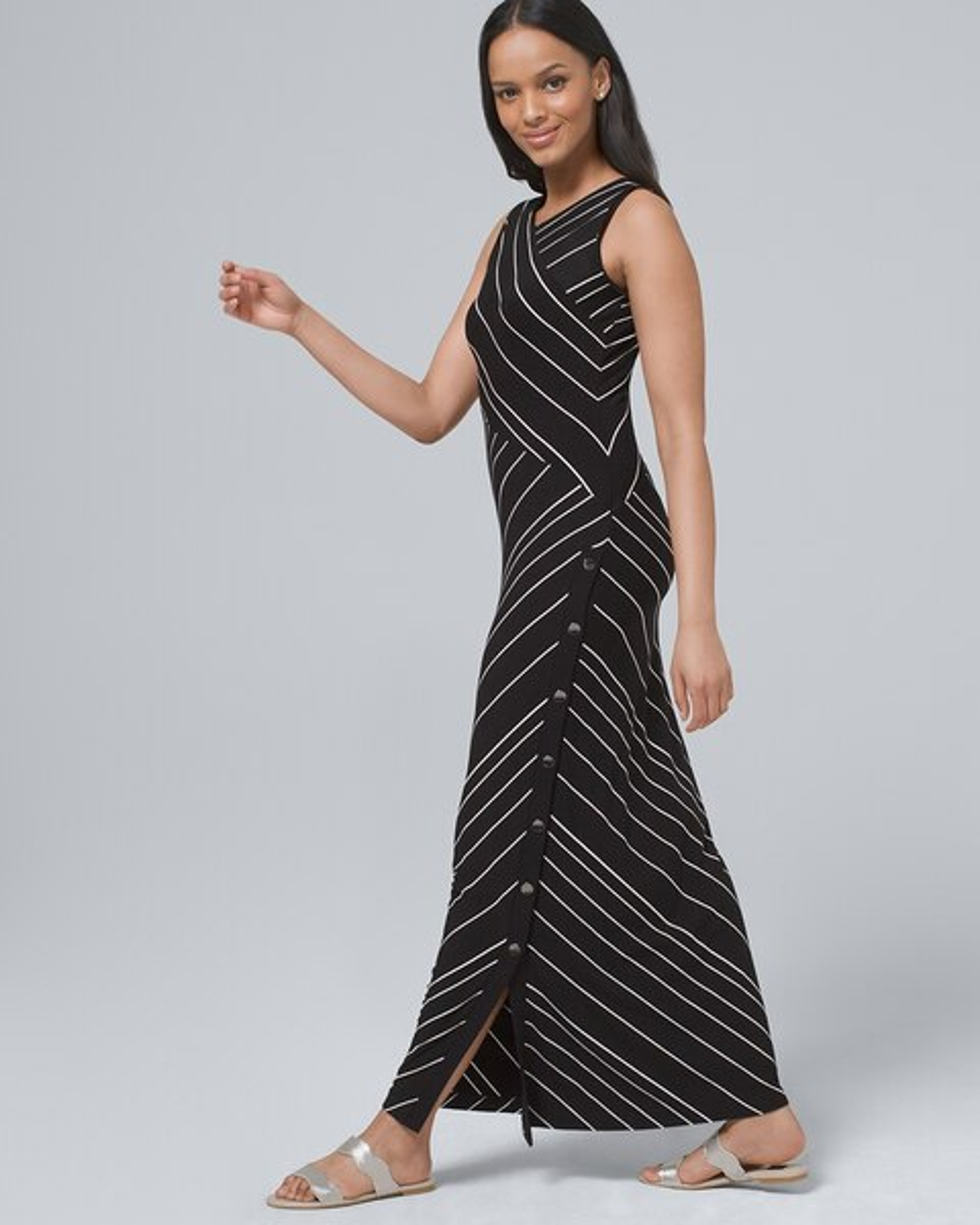 cec34030160 Return to thumbnail image selection Polished Knit Stripe Maxi Dress