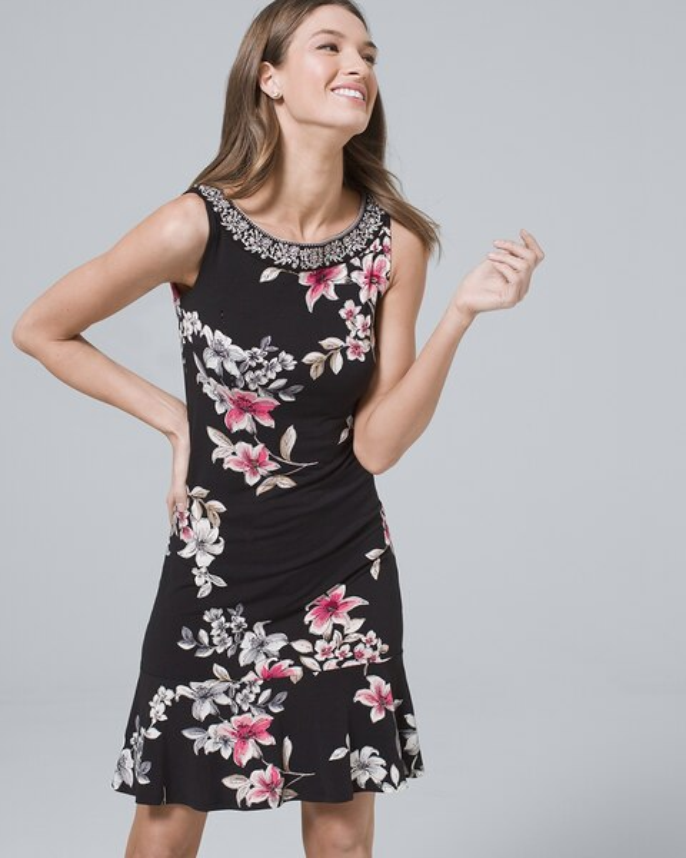 1bf849335a Polished Knit Embellished Flounce-Hem Floral Shift Dress - White House  Black Market