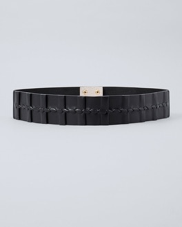 Pleated Leather Wide Stretch Belt by Whbm