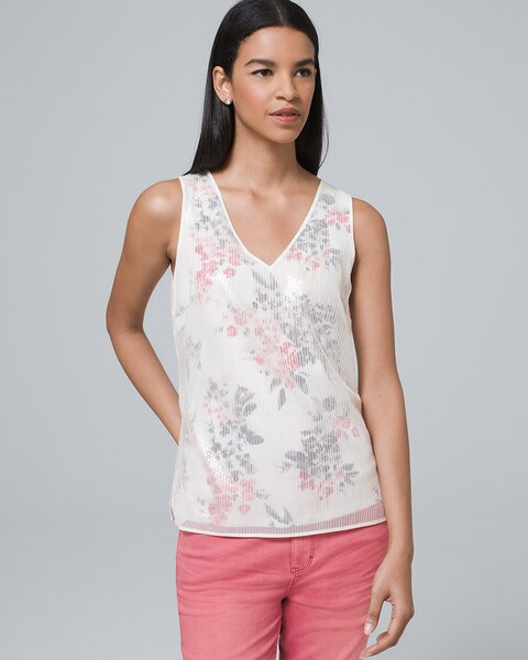 Sequin Overlay Tank by Whbm