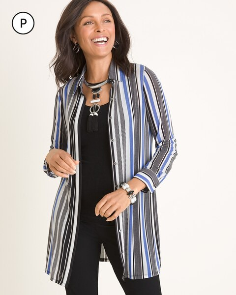Travelers Collection Petite Striped Mesh Shirt Jacket