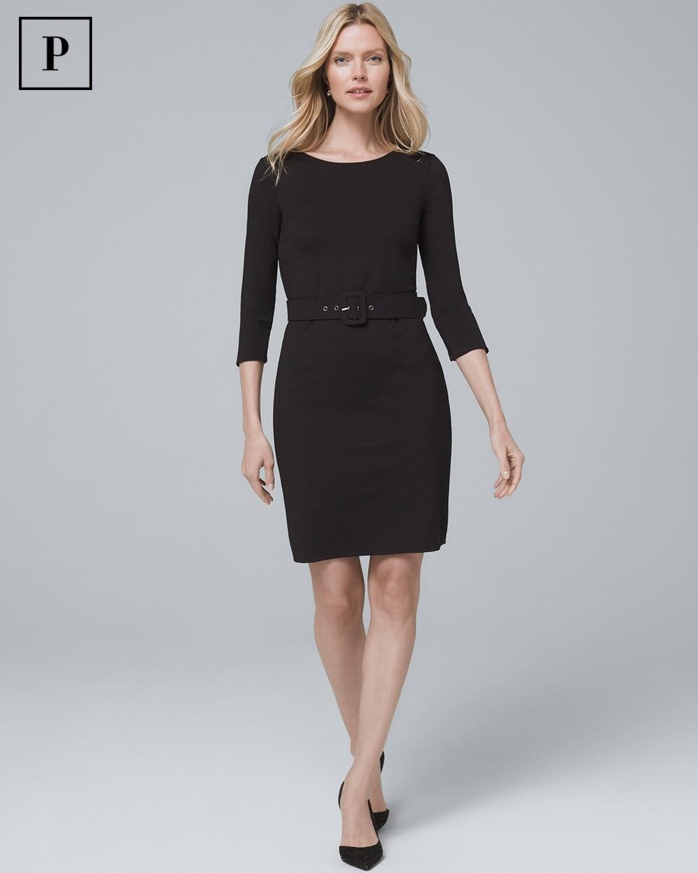 Petite Belted Black Knit Dress White House Black Market