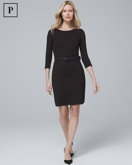 Petite Belted Black Knit Dress by Whbm