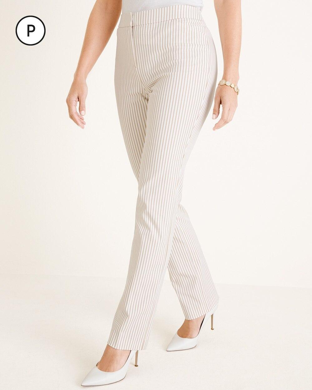 Petite Secret Stretch Striped Straight-Leg Pants